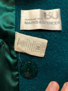 Marks & Spencer 1980's mohair and wool blend, double breasted teal coat. Fits a size 10.