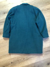Load image into Gallery viewer, Kingspier Vintage - Marks & Spencer 1980's mohair and wool blend, double breasted teal coat. Fits a size 10.