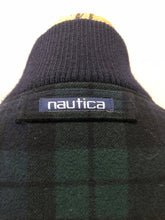 "Load image into Gallery viewer, Kingspier Vintage - Nautica green and black ""black watch"" tartan wool jacket with knit trim collar, zipper, slash pockets and quilted lining. Size XL."