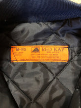 Load image into Gallery viewer, Kingspier Vintage - Red Kap bomber jacket in navy with knit collar and cuffs, zipper, slash pockets, and quilted lining. Made in the USA.