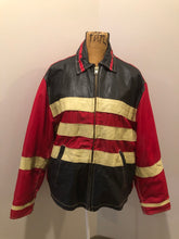 "Load image into Gallery viewer, Jack and Jones leather and polyester jacket in red, black and white with slash pockets, zipper, satin lining and inside pocket. Size large. *Bonus! This jacket was "" Man in the high castle"" film stock"