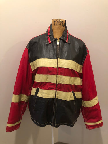 "Kingspier Vintage - Jack and Jones leather and polyester jacket in red, black and white with slash pockets, zipper, satin lining and inside pocket. Size large. *Bonus! This jacket was "" Man in the high castle"" film stock"