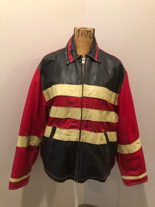 "Jack and Jones leather and polyester jacket in red, black and white with slash pockets, zipper, satin lining and inside pocket. Size large. *Bonus! This jacket was "" Man in the high castle"" film stock"