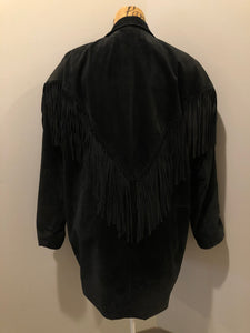 Kingspier Vintage - Laurence Roy black lamb leather suede jacket circa 1980's with fringe detailing, button closures and slash pockets. Made in Canada. Size large.