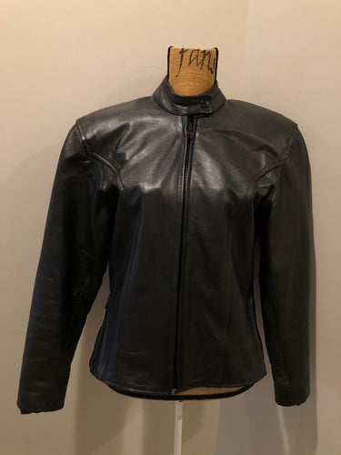 Kingspier Vintage - Black leather moto jacket with zipper, zips on the sides for more room, mesh lining and inside pocket. Size XS.