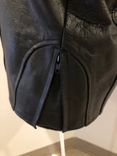 Load image into Gallery viewer, Kingspier Vintage - Black leather moto jacket with zipper, zips on the sides for more room, mesh lining and inside pocket. Size XS.