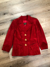 Load image into Gallery viewer, Danier red suede jacket with fitted silhouette, three gold decorative buttons and two slanted welt pockets. Size small.