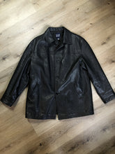 Load image into Gallery viewer, Gap black leather jacket with button closures, slash pockets, inside pocket and quilted lining. Size large.