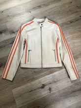 Load image into Gallery viewer, A&S Selections beige with orange stripe moto jacket with zipper closure, vertical zip pockets and zipper at the sleeve. Size medium.