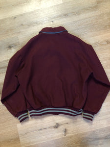 L.L.Bean bomber jacket in wine with snap closures with logo, knit trim and slash pockets. Size large.