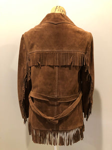 Jonathan Legault brown suede western style jacket with fringe details, belt in the back, button closures and slash pockets.