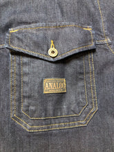 Load image into Gallery viewer, Kingspier Vintage - ATF (Analog Technical Fashion) denim jacket in a dark wash with button closures, two zip slash pockets, two flap pockets, an inside pocket and a plaid lining. Union made. Size XL.