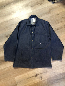 Big Bill denim jacket in a dark wash with snap closures and three patch pockets. Made in Canada. Size 38.