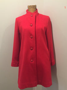 Kingspier Vintage - Electre Paris red wool car coat with red button closures, welt pockets and subtle detailing on shoulders. Made in Canada