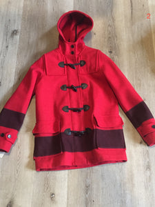 Hudson's Bay Company official 2014 Olympics duffle coat in red with hood, toggles, zipper and flap pockets. Size is small.