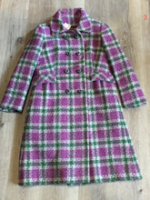 Load image into Gallery viewer, Kingspier Vintage - Keene Furs Shagmoor wool green and purple plaid double breasted car coat with belt at waist. Made in the USA.