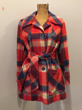 Load image into Gallery viewer, Croydon orange, yellow, blue and white plaid coat with button closures, belt and patch pockets. Size 14, fits small.