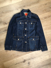 Load image into Gallery viewer, Isaac Mizrahi denim safari style jacket in a dark wash with belt in the back, button closures, four flap pockets and two hand warmer pockets. Size small.
