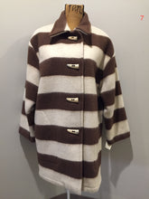 Load image into Gallery viewer, Kingspier Vintage - Linda Lundstrom white and brown striped wool parka with wooden toggles and patch pockets. Made in Canada. Size medium.