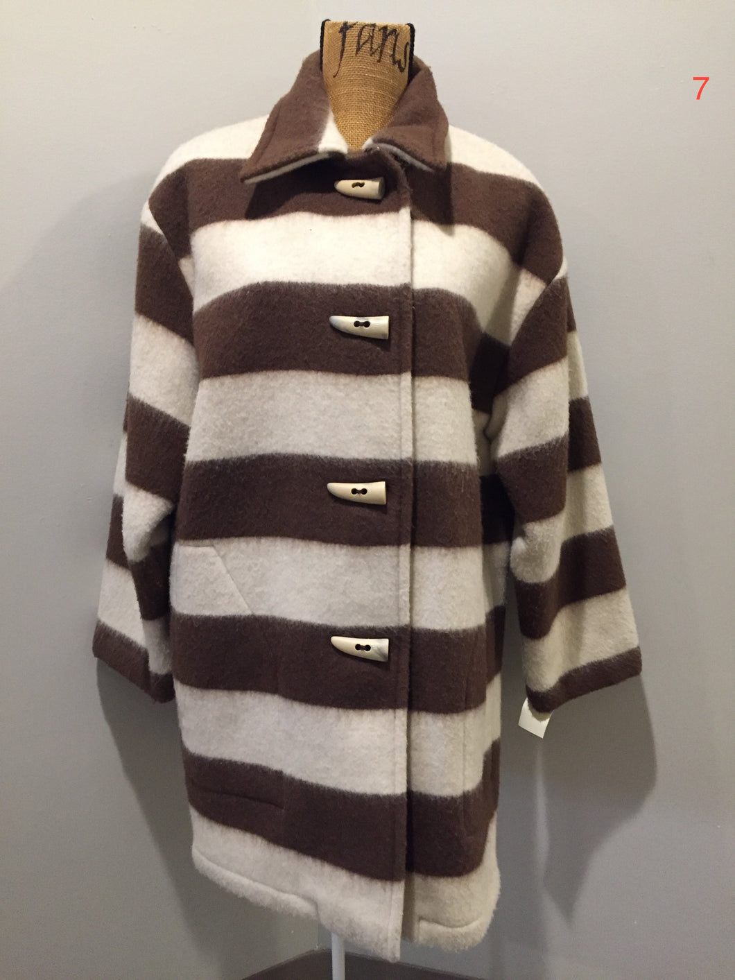 Kingspier Vintage - Linda Lundstrom white and brown striped wool parka with wooden toggles and patch pockets. Made in Canada. Size medium.