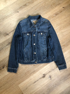 Kingspier Vintage - Nine West Vintage Collection denim jacket in a medium wash with vintage look material piece in the back, button clusters, two vertical pockets and two flap pockets on the chest. Size large.