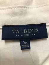 Load image into Gallery viewer, Talbots denim jacket in white with button closures, two vertical pockets and two flap pockets on the chest. Size small petite.