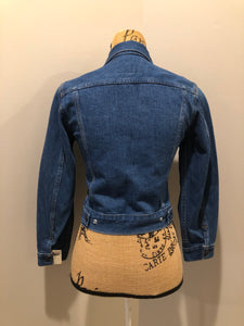 Kingspier Vintage - GWG (Great Western Garment Co) denim jacket in a medium wash with snap closures and two flap pockets on the chest. Fits XS. Canadian company.