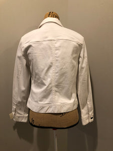 Talbots denim jacket in white with button closures, two vertical pockets and two flap pockets on the chest. Size small petite.