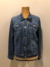 Load image into Gallery viewer, Kingspier Vintage - Nine West Vintage Collection denim jacket in a medium wash with vintage look material piece in the back, button clusters, two vertical pockets and two flap pockets on the chest. Size large.