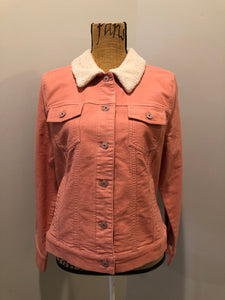 Isaac Mizrahi Live! denim sherpa jacket in coral pink with stretchy soft denim, button closures, two vertical pockets and two flap pockets. Size 12.