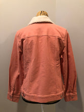 Load image into Gallery viewer, Isaac Mizrahi Live! denim sherpa jacket in coral pink with stretchy soft denim, button closures, two vertical pockets and two flap pockets. Size 12.