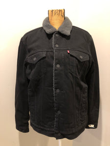 (SOLD) Levi's Black Denim Sherpa Jacket