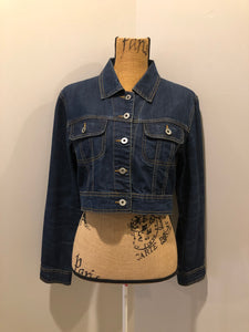 Bongo Jeans cropped denim jacket in a dark wash with whiskering on the arms, button closures and flap pockets on the chest. Size medium.