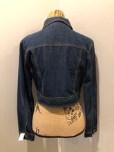 Load image into Gallery viewer, Bongo Jeans cropped denim jacket in a dark wash with whiskering on the arms, button closures and flap pockets on the chest. Size medium.