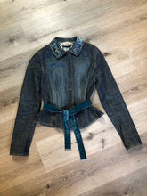 Load image into Gallery viewer, Elie Tahari denim jacket in a faded dark wash with beaded velvet collar, decorative snap closures, deep green velvet belt and a beautiful patterned silk lining.  Size small.\