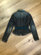 Load image into Gallery viewer, Elie Tahari denim jacket in a faded dark wash with beaded velvet collar, decorative snap closures, deep green velvet belt and a beautiful patterned silk lining.  Size small.