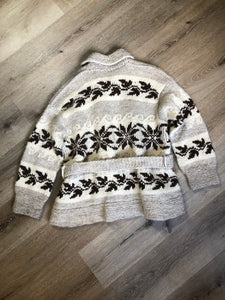 Kingspier Vintage - Genuine Cowichan hand spun, hand knit belted wool cardigan in cream, grey and dark brown with floral design, shawl collar, belt and pockets.