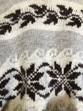 Load image into Gallery viewer, Kingspier Vintage - Genuine Cowichan hand spun, hand knit belted wool cardigan in cream, grey and dark brown with floral design, shawl collar, belt and pockets.