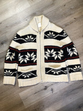 Load image into Gallery viewer, Kingspier Vintage - Cowichan hand spun, hand knit wool cardigan in cream, black and red with floral design, zipper and pockets. Size large.