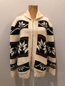 Kingspier Vintage - Cowichan hand spun, hand knit wool cardigan in cream, black and red with floral design, zipper and pockets. Size large.