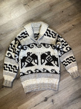 Load image into Gallery viewer, Cowichan style hand knit wool pullover sweater in cream, grey and dark brown with thunder bird design and shall collar.