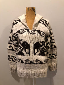 Kingspier Vintage - Cowichan style hand knit wool pullover sweater in cream, grey and dark brown with thunder bird design and shall collar.