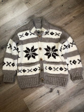 Load image into Gallery viewer, Kingspier Vintage - Cowichan style hand knit zip wool cardigan in cream, grey and dark brown with floral design, zipper and pockets.