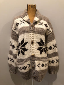 Kingspier Vintage - Cowichan style hand knit zip wool cardigan in cream, grey and dark brown with floral design, zipper and pockets.