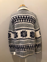 Load image into Gallery viewer, Cowichan style hand knit wool zip cardigan in white, grey and navy with floral design, zipper and pockets.