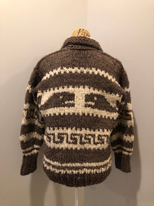 Cowichan style hand spun, hand knit zip cardigan in taupe brown and cream with whale pattern. Size medium.