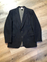 Load image into Gallery viewer, Chaps by Ralph Lauren slate grey with blue and red subtle stripe 100% wool jacket. This jacket is a two button, notch lapel with two flap pockets, a breast pocket and three inside pockets. Made in Canada.