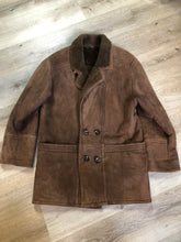 Load image into Gallery viewer, Kingspier Vintage - Hide Society medium brown shearling coat This coat features shearling lining, button closures, pockets and one inside zip pocket. Made in Canada. Size 10.