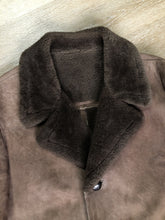 Load image into Gallery viewer, Kingspier Vintage - Bovet medium brown shearling coat. This coat features shearling trim and lining, wooden button closures and patch pockets.
