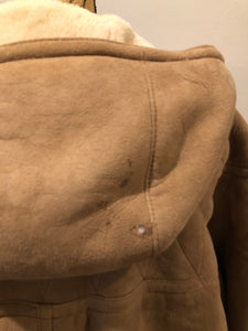 Kingspier Vintage - Hide Society light brown suede coat with shearling lining, hood, inside drawstring, button closures and slash pockets.